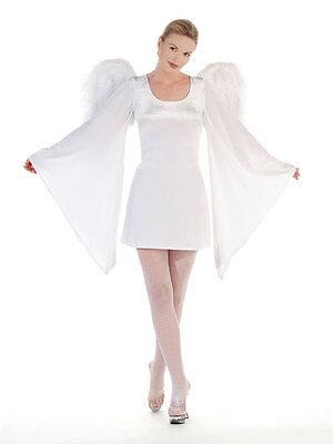 M/L blanc velours pattes d'éléphants à manches NYMPHE - Kostüm Femme Ange