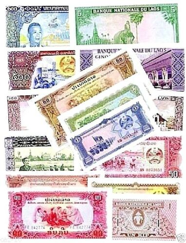 Laos Special Set Of 15 Different World Banknotes,Uncirculated Lot