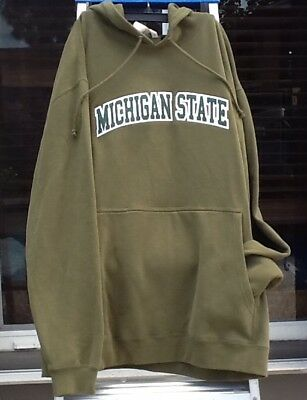 Michigan State Spartans Sweatshirt Hoodie~Men's L~Retro Green~NCAA~NEW