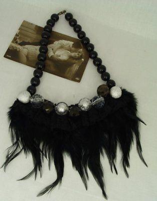 Vintage Halskette Federn & Kunstperlen im 20 Jahre Stil Federhalsband Kette neu