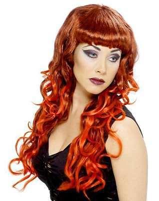 Lockige Halloween Perücke Kostüme (Damen Halloween Kostüm Lockig Sexy Sirene Perücke rot/schwarz NEU von Smiffys)