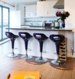 X4 Purple Gas Breakfast Bar Stools £40