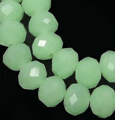 8x6mm Green Chalcedony glass Quartz Faceted Rondelle Beads 16