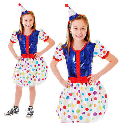 Childrens Kids Clown Dress Polka Dot Fancy Dress Costume Outfit 3-10 Yrs