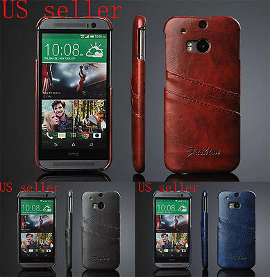Luxury Wax Pu Leather Wallet Credit Card Slot Back Case Cover For Htc One M8