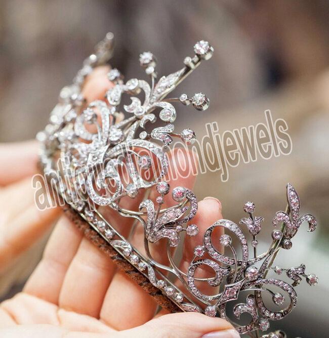 17.30ct Rose Cut Diamond Antique Look 925 Silver Wedding Tiara