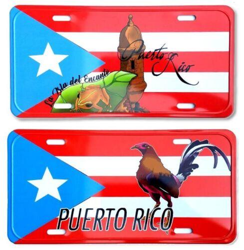 "Lot of 2 Puerto Rico Flag 6""x12"" Aluminum License Plate Tag ( Tablilla  #2"