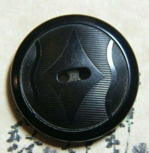 "Vintage Vegetable Ivory Tagua Nut Button Pressed Pattern Dyed Black 7/8"""