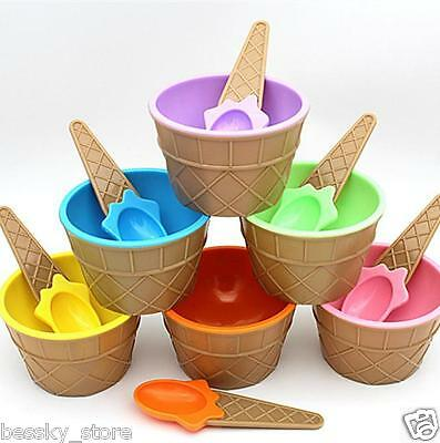 Children Plastic Ice Cream Bowls Spoons Set Durable Ice Cream Cup Dessert Bowl V - Plastic Ice Cream Bowls