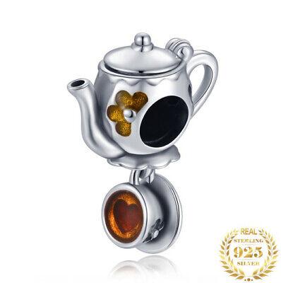 Authentic 925 Sterling Silver Pandora Bracelet Enamel Tea Coffee Cup Beads Charm