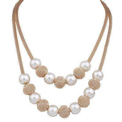 Fashion Women Pendant Chain Choker Chunky Pearl Statement Bib Necklace Jewelry