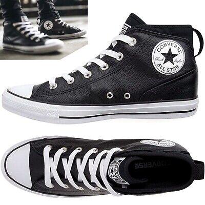 Converse Chuck Taylor All Star Syde Mid Leather Sneaker Leder Schuh schwarz/weiß - Weiß Schwarz Leder Schuh