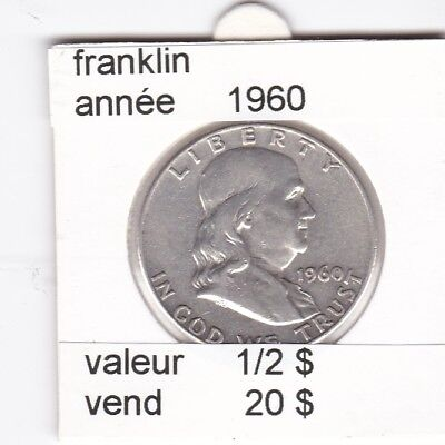 e1 )pieces de 1/2 dollar de franklin 1960