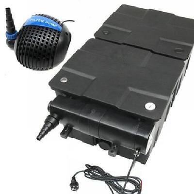 3-fach SET: Teichfilter 60000 L + UVC Lichtfilter 24 W + Pumpe 3200 L Koi Teich