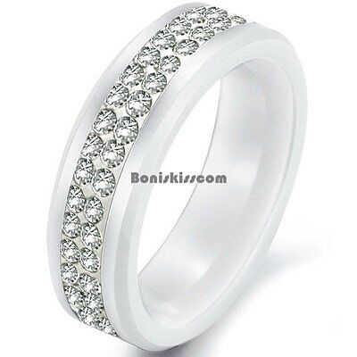 8mm White Ceramic Engagement Wedding Band Unisex Ring w Eternity Round CZ Center 8 Mm Ceramic Ring