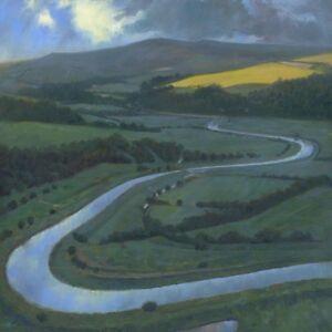 BEAUTIFUL-ORIGINAL-MARK-HARRISON-White-Horse-Cuckmere-Valley-OIL-PAINTING