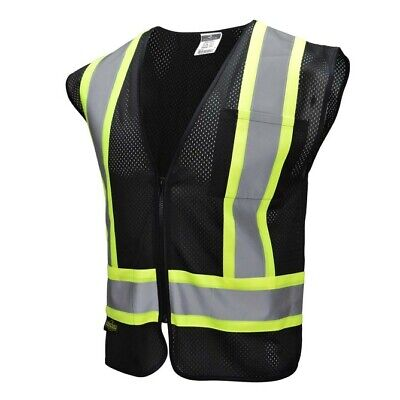 Black Two Tones Safety Vest. Radians Reflective Tape. Mesh. Class 1