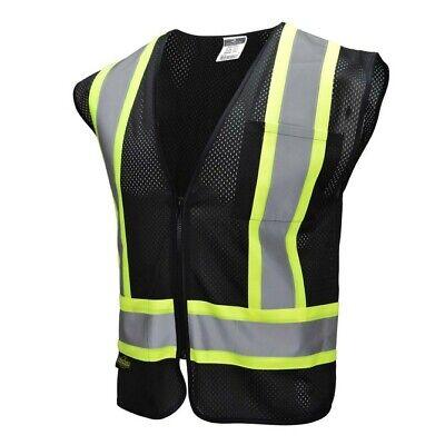 Safety Vest. Radians. High Vis. Reflective Tape. Mesh. Class 1.black.ansi 107