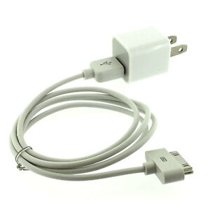 AC Wall Charger Adapter+USB Data Sync Cable for iPhone 4 4G 4S 3GS 3G iPod Touch