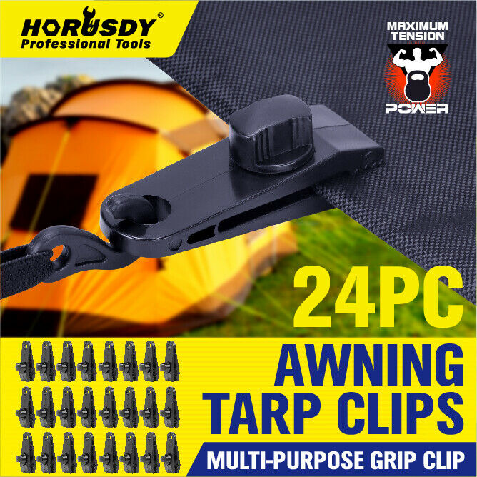 24PC Tarp Clips Locking Awning Clamp Snap Hangers Survival Emergency HEAVY DUTY