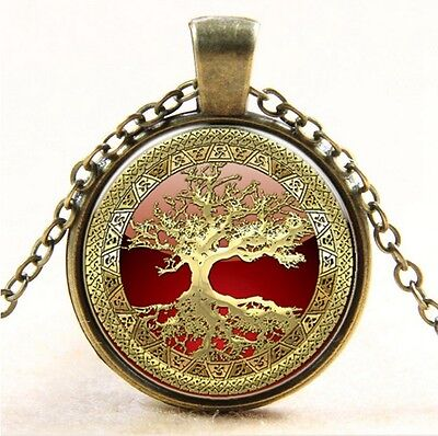 Vintage Tree of Life Cabochon bronze Glass Chain Pendant Necklace #90