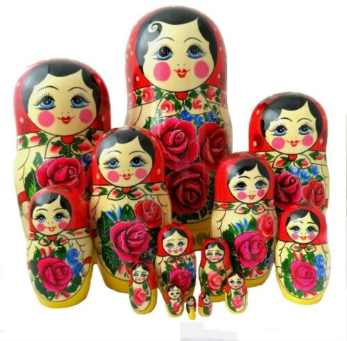 Dolls Russian Emboitables Matryoshka Painted At Hand/ 15 Pièces