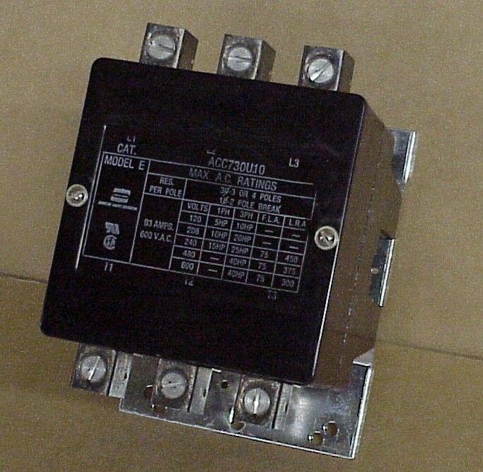 Arrow Hart Cat # ACC730U10 600 V.A.C. Contactor Model E - 93 Amps