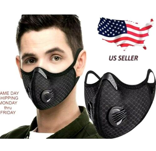 BLACK FACE MASK / REPLACEABLE CARBON FILTER / BREATH VENTS FAST USA SHIPPING!!!$