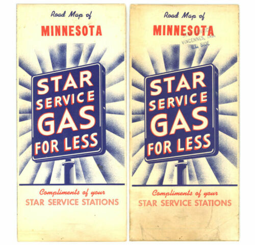 Vintage 1956 Minnesota Road Map – Star Service Stations