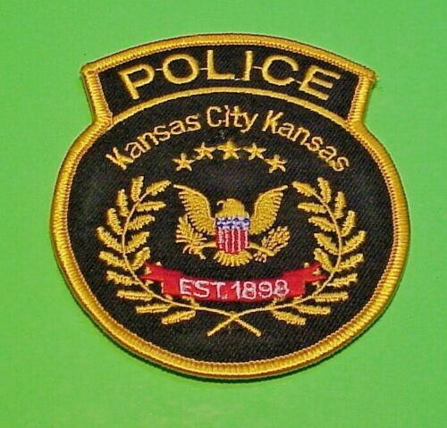 "KANSAS CITY  KANSAS  KS  ( GOLD BORDER ) POLICE PATCH  3 5/8""  FREE SHIPPING!!!"