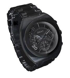 New-DKNY-Mens-Black-Steel-Bracelet-Black-Dial-Chronograph-Sport-Watch-NY4699