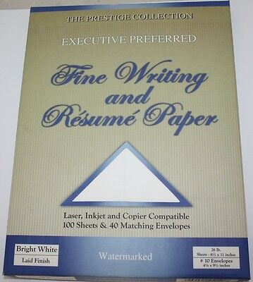 Resume Paper And Fine Writing   100 Sheets 26 Lb And 40 Envelopes   Bright White