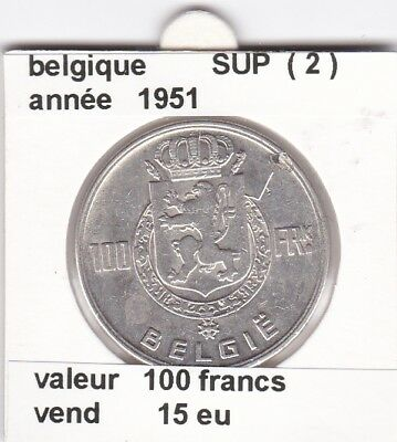 FB )pieces de 100 francs albert I 1951  belgique ( 2 ) &