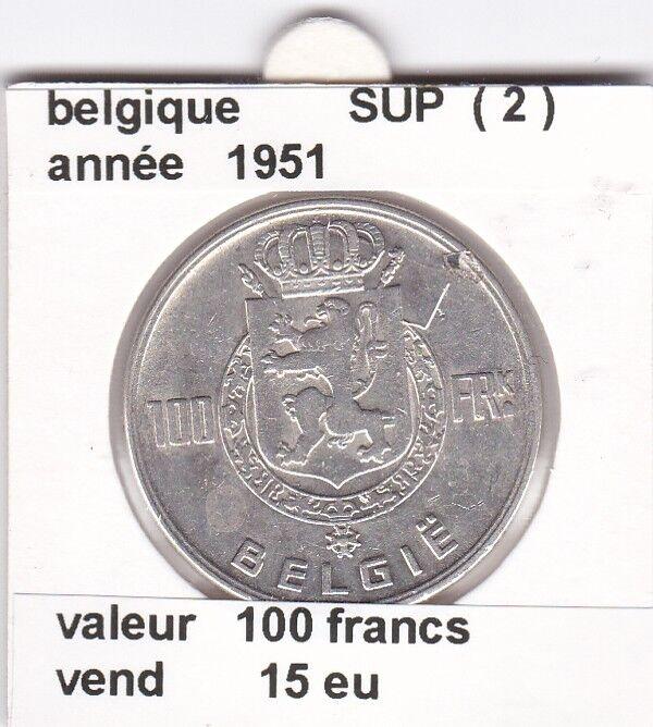 FB )pieces de 100 francs albert I 1951  belgique ( 2 ) &