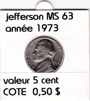 e2 )pieces de 5 cent  1973     jefferson