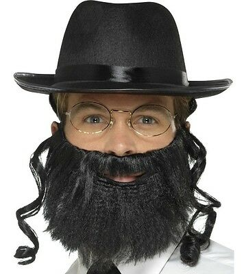 Herren Herren Herren Rabbi Kostüm Set Hut mit Haaren Bart Brillen Neu - Rabbi Hut Kostüm