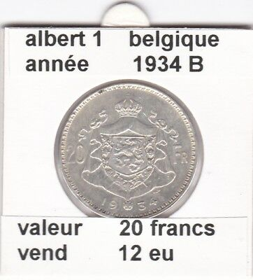 BF 1 )pieces de 20  francs  albert 1  1934 B  belgique