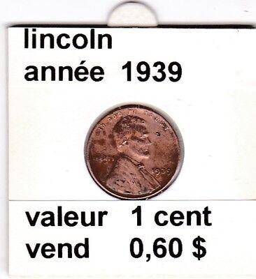 e 3)pieces de 1 cent  lincoln  1939