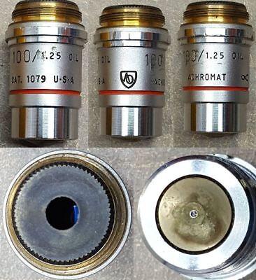 Ao Spencer Microscope Oil Objective Lens 1001.25. Achromat 1079.