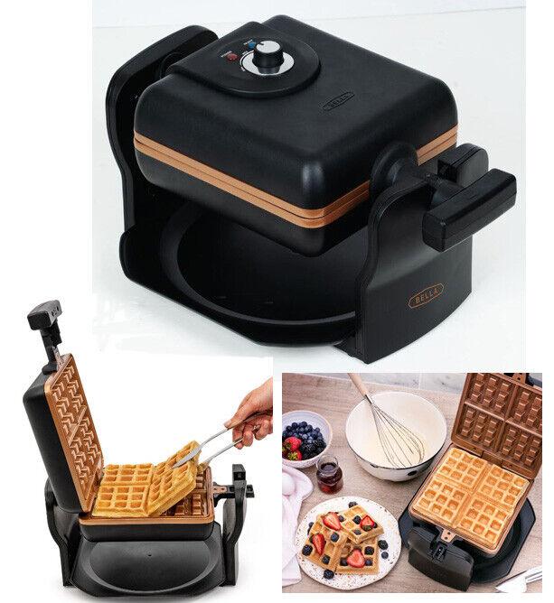 4 slice rotating black belgian waffle maker