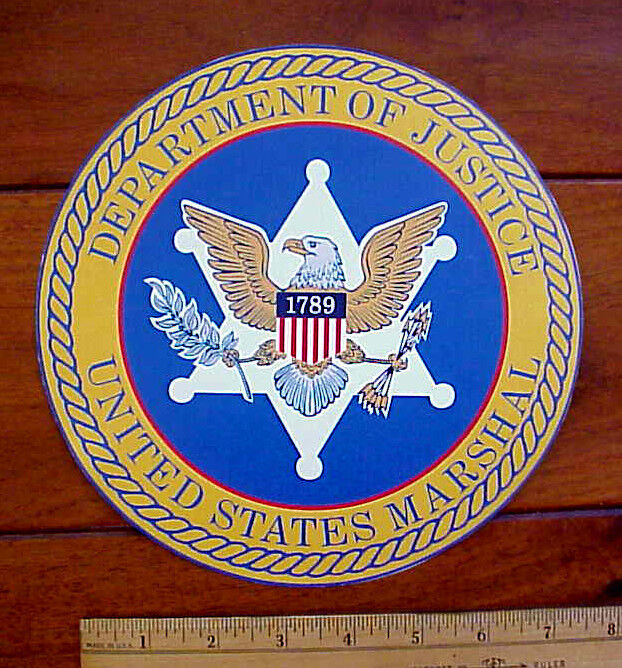 """DEPARTMENT OF JUSTICE UNITED STATES MARSHAL LARGE 8"""" DIAMETER PEEL-OFF STICKER"""