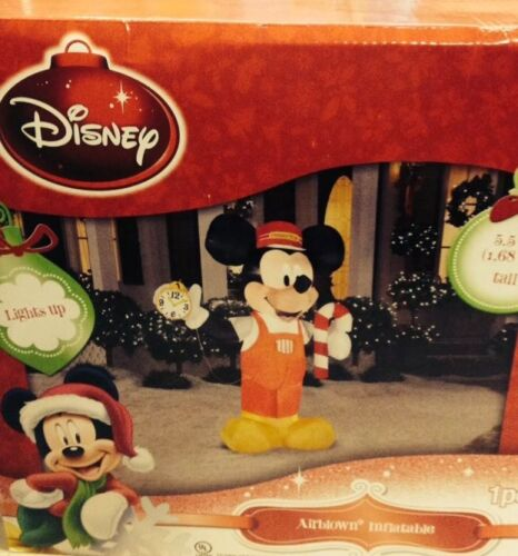Disney Mickey Mouse Train Conductor Candy Cane Christmas Airblown Inflatable 5.5