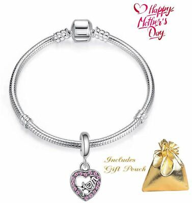 Silver Mom Pink Heart Bead Charm European Snake Chain Mothers Day Bracelet USA Mom Pink Heart