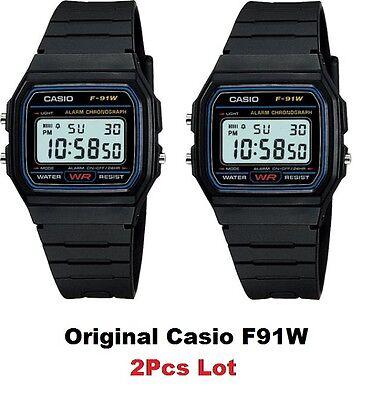 2 Piezas Lote Original Casio Nuevo F-91W Alarma Clásico Digital F-91 Reloj