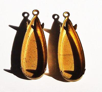 Brass Teardrop Settings 4 prong vintage 28mm long  2 PCS