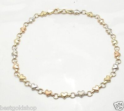 """Heart Link Charm Bracelet Real 14K Tri-Color Gold ALL SIZES  6"""" to 8 1/2"""""""