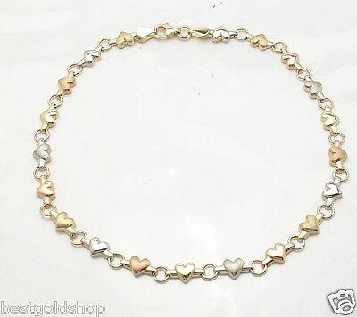 Heart Link Charm Bracelet Real 14K Tri-Color Gold ALL SIZES  6