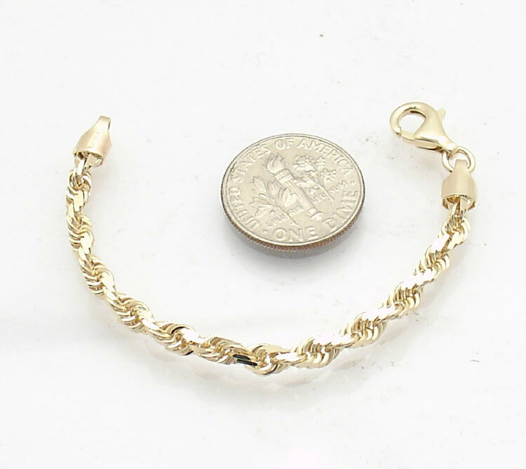4mm Diamond Cut Rope Chain Necklace Extender Pendant Real Solid 10K Yellow Gold