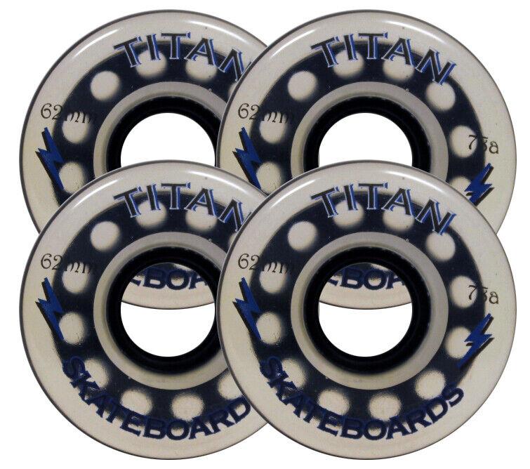 62mm 78a LONGBOARD WHEELS & ABEC 7 BEARINGS Skateboard TITAN CLEAR