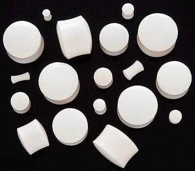 Organic WATERBUFFALO White Bone Solid Saddle Plugs 8g 6g 4g 2g 9/16 5/8 -